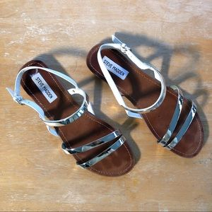 Steve Madden Silver Strappy Sandals Size 9